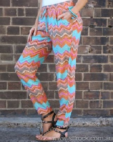 lounge pants pants boho pants slouchy loose pants aqua orange zig zag comfy pants