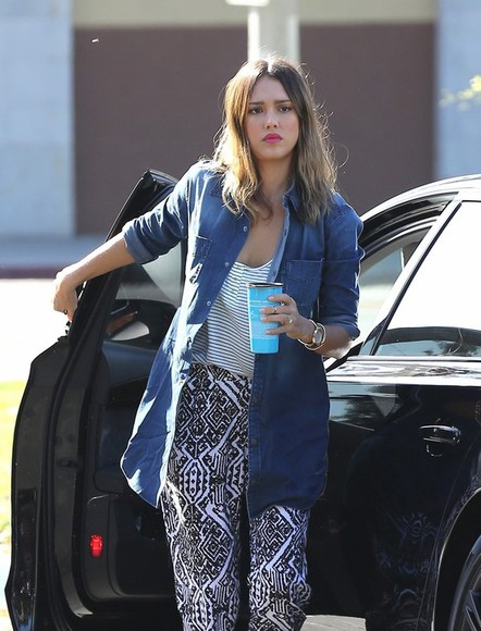 jessica alba top shirt denim denim shirt