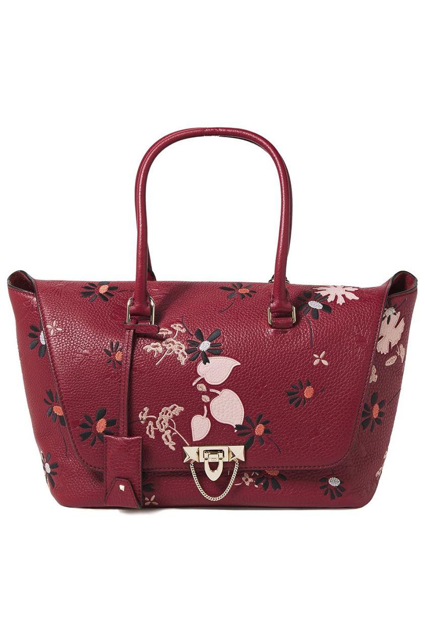 Valentino Garavani Woman Demilune Embroidered Textured-leather Tote Crimson Size --