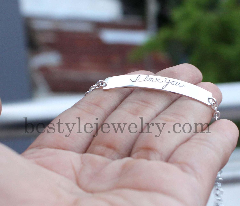 Signature Bar Bracelet - Engraved Handwriting Bar Bracelet - Christmas Gifts - Unique Jewelry