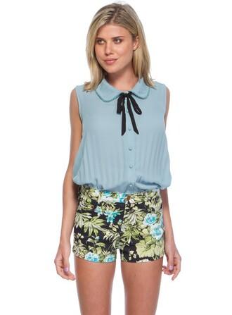 shorts clothes blue blouse