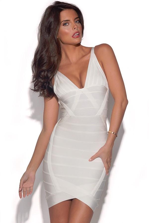 White V Neck Bandage Dress