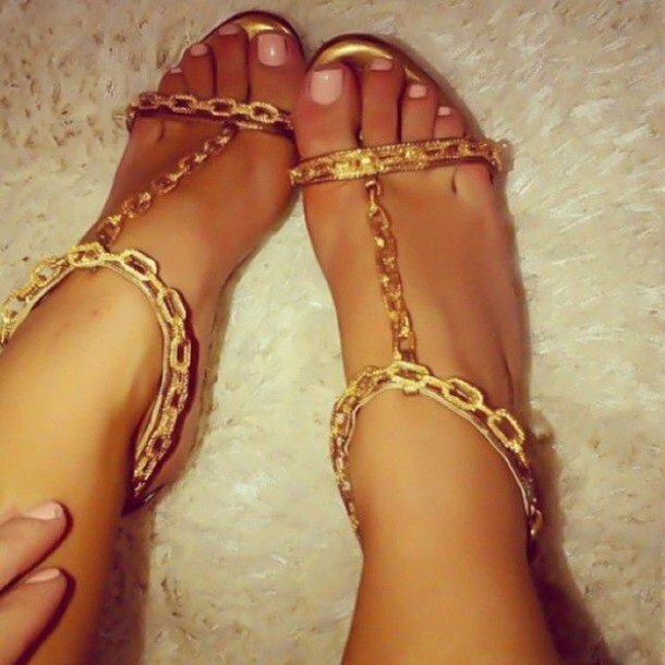 shoes gold heels nail polish