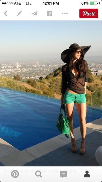 blouse black sheer cover up green shorts shorts swimwear
