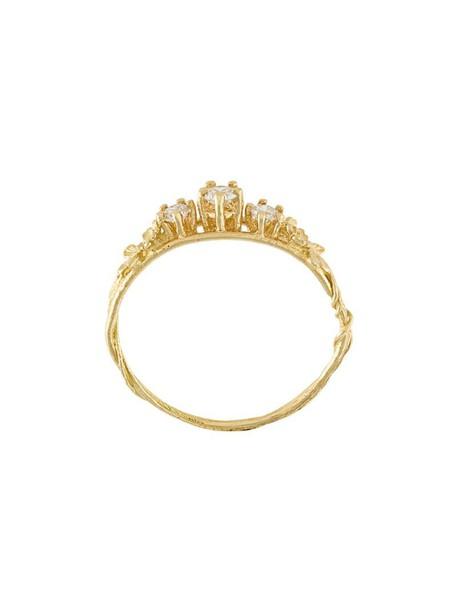 Alex Monroe women ring gold yellow grey metallic jewels