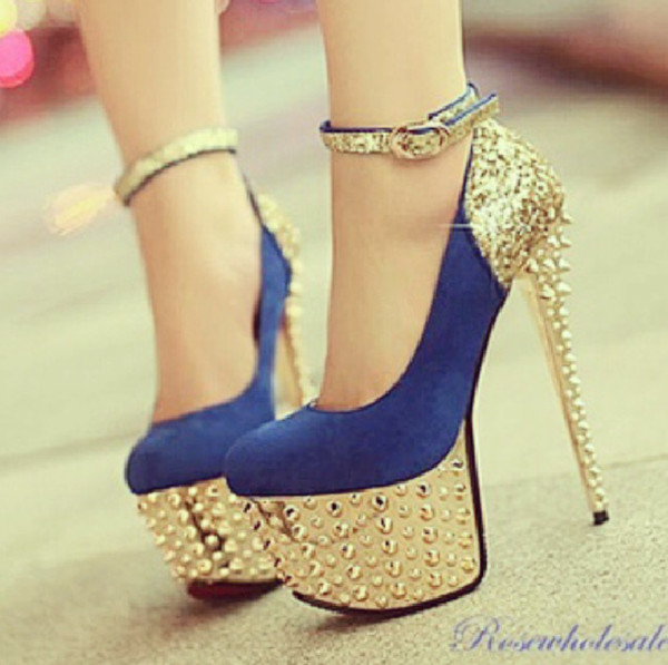 shoes high heels blue and gold sparkle spikes spiked shoes blue high heels gold blue heels blue shoes bag blue and gold heels