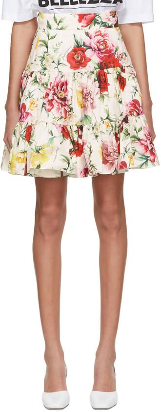 miniskirt flowers white skirt
