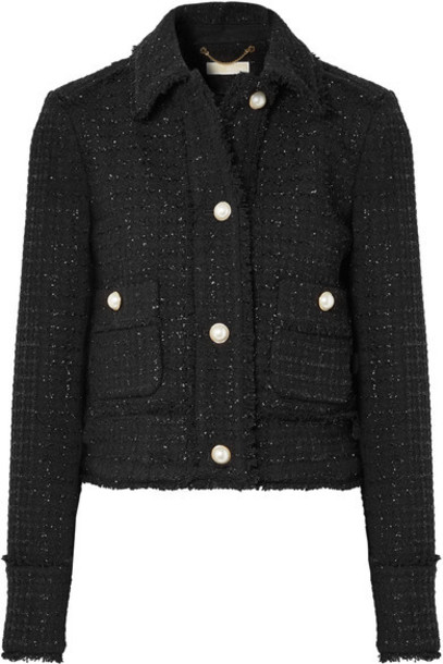 MICHAEL Michael Kors jacket cropped metallic black wool