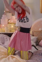 pants,pink,red,dweeb,graphic tee,DrMartens,yellow,tights,skirt