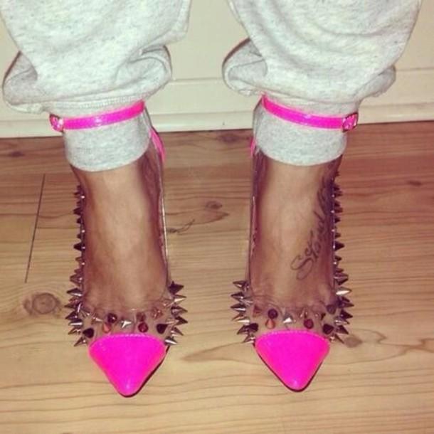 shoes grey sweatpants hot pink heels hot pink heels studs high heels spikes cute high heels