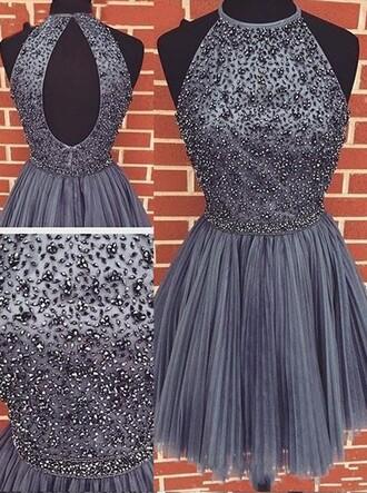 dress homecoming dress short halter beaded dress