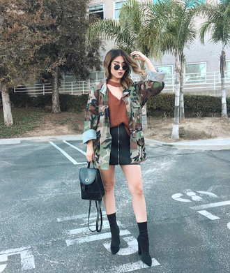 jacket skirt black skirt high heels boots top black backpack tumblr camouflage camo jacket mini skirt leather skirt boots sock boots backpack