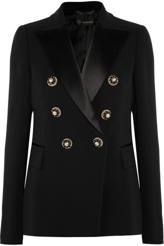 blazer embellished silk satin black jacket