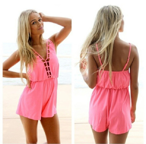 jumpsuit dress playsuit summer pink cute