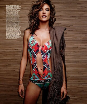 swimwear alessandra ambrosio one piece swimsuit colorful