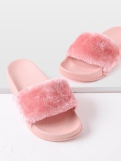 shoes,girly,pink,fur,sandals