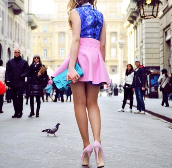 skirt pink skirt blue bag