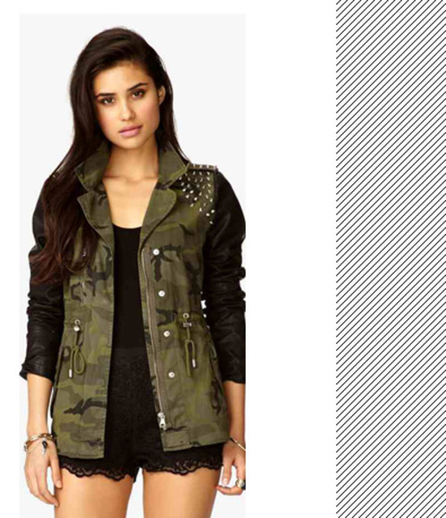 jacket camouflage leather sweet, chill, amazing military jacket spikes