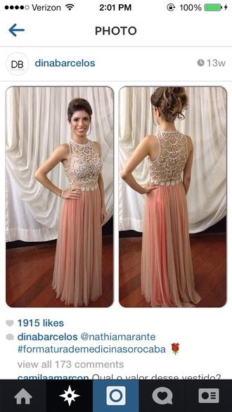 dress prom dress mesh sequence beads flowy pink elegant long prom dress long
