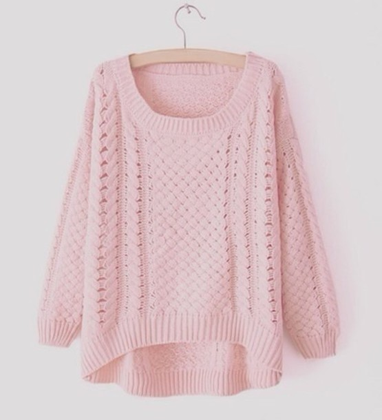 Sweater: pink, cute, swag, knitted sweater, warm, knit ...