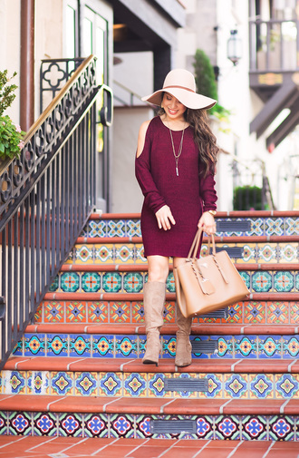 cute & little blogger jewels dress shoes hat bag felt hat purple dress fall dress fall outfits handbag knee high boots