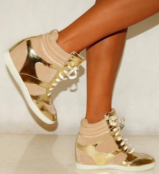 shoes wedge sneakers gold gold