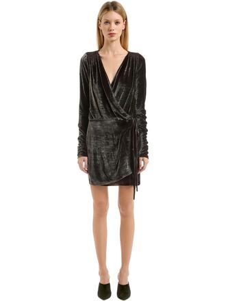 dress wrap dress silk velvet taupe