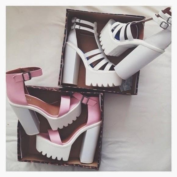pink white grunge shoes platform high heels