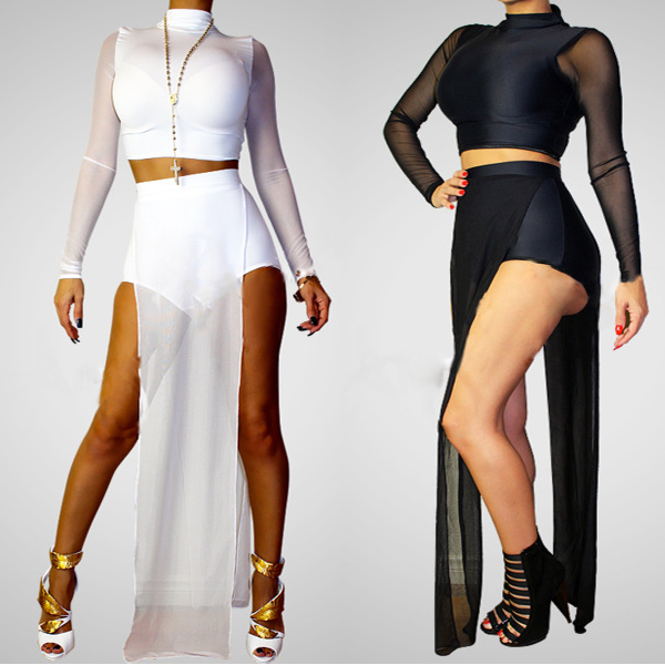 2014 Sexy Club Bodycon Jumpsuit Black White Womens Rompers Jumpsuit
