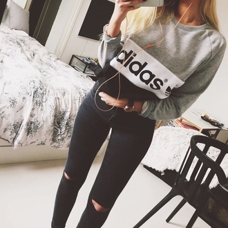 sweater gray grey printed graphic sweatshirt adidas crewneck jeans