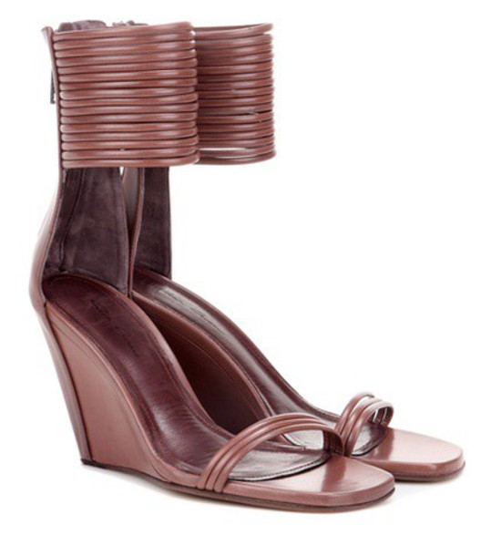 Rick Owens Leather Sandals in brown