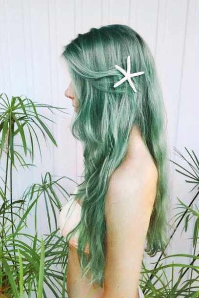 hair accessory mermaid starfish jewels pastel hair grunge pastel goth goth hipster clips hair accessory punk halloween