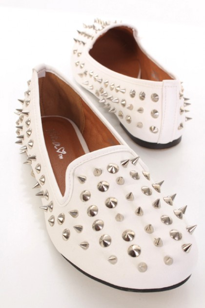 White faux leather spike studded closed toe loafer flats / sexy clubwear