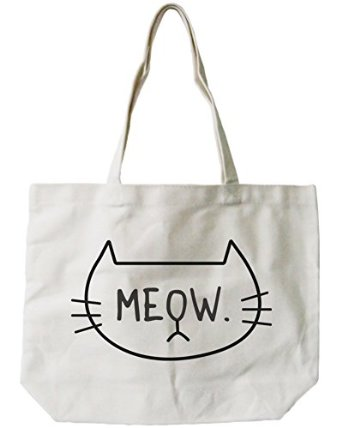 687ac7ccc Amazon.com: 365 Printing Women's Cute Meow Cat Face Canvas Tote Bag  Natural: Clothing