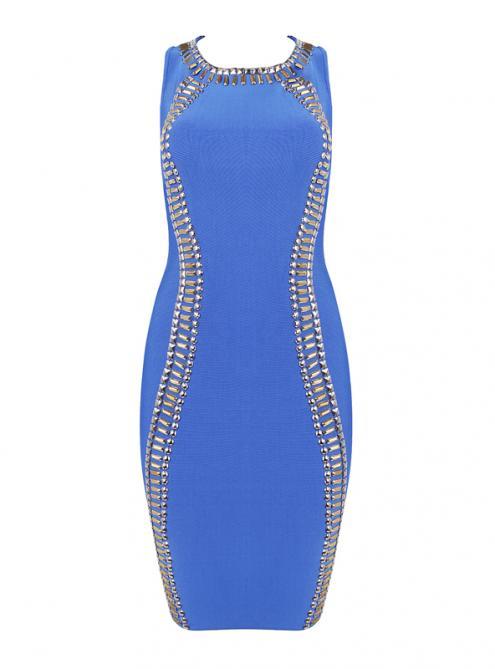 Blue Beaded Sleeveless Bandage Dress H914$139