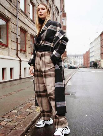 coat pants sneakers blogger fall outfits plaid instagram pernille teisbaek