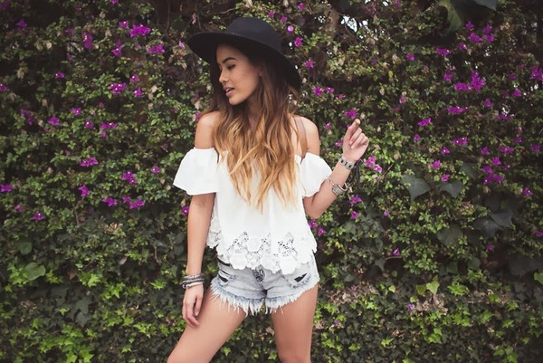 little black boots t-shirt shorts off the shoulder top blouse cute boho gypsy hippie festival fashion outfit shirt hat