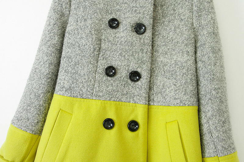 Grey yellow long sleeve shoulder pads woolen coat