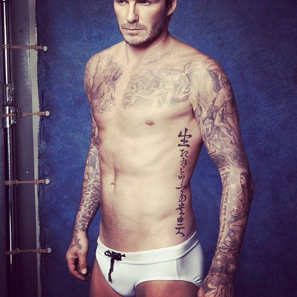 white swimwear h&m david beckham