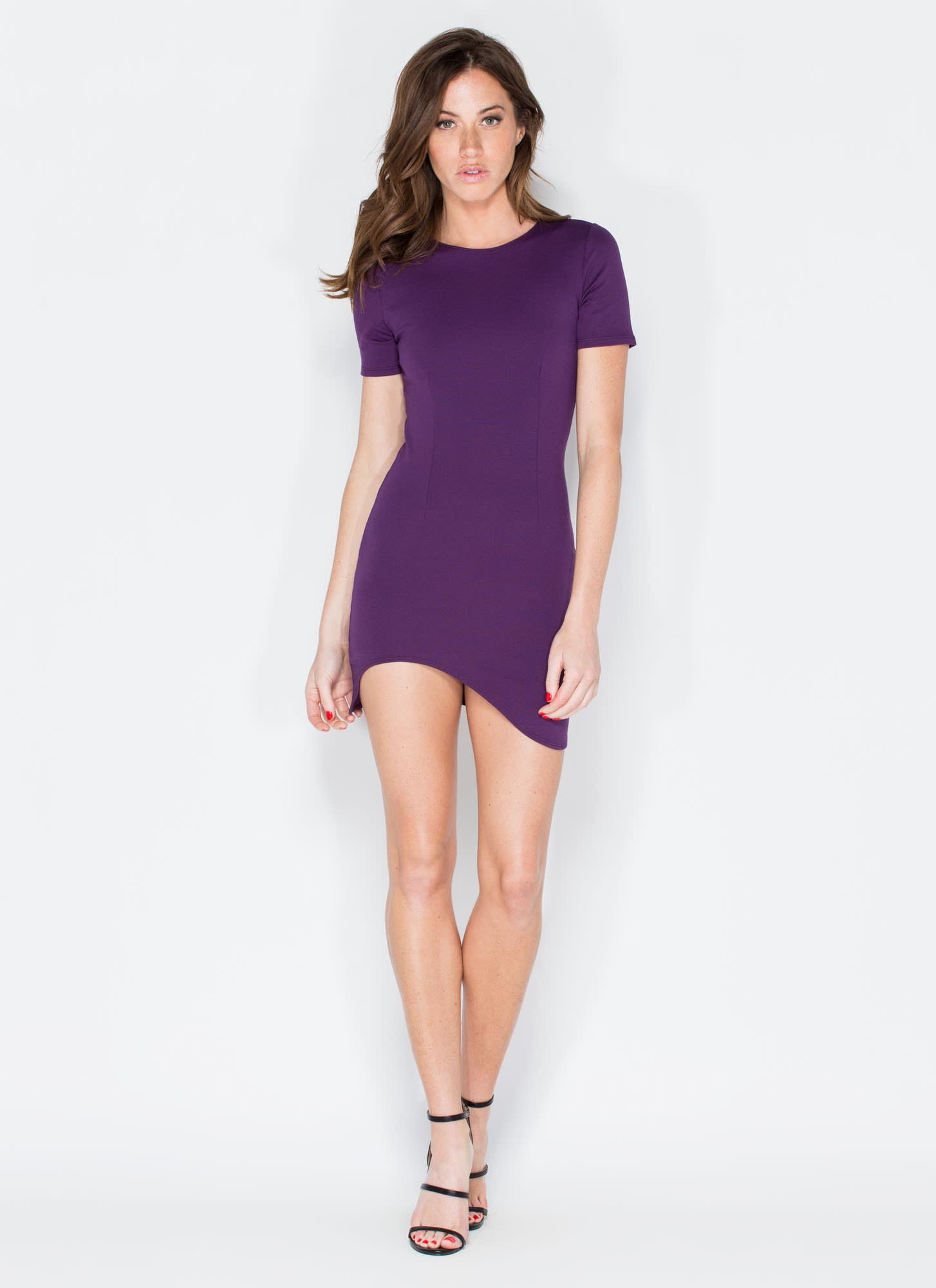 Hi And Hello Curved Hem Dress PURPLE BLUSH - GoJane.com