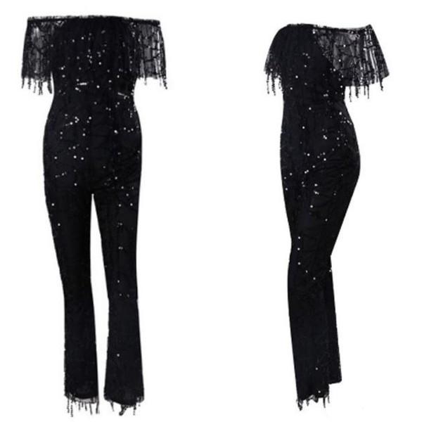 5ec630a08637 jumpsuit slay accessories sequins jumpsuit black jumpsuit sequins romper  black sequins flare leg flare leg jumpsuit