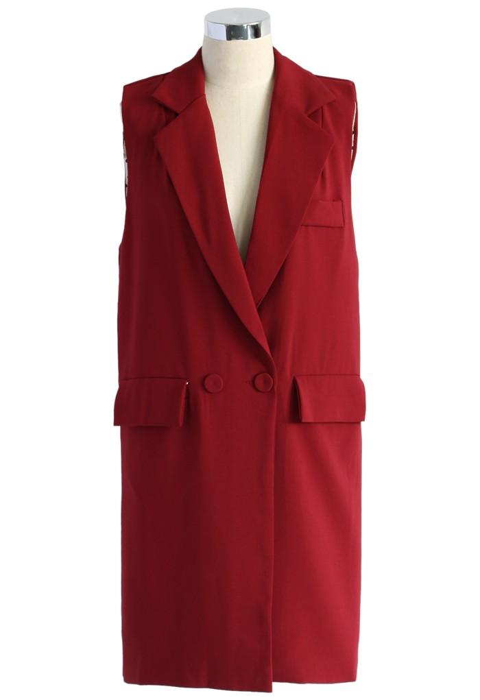 Sleeveless Longline Blazer in Wine - Retro, Indie and Unique Fashion