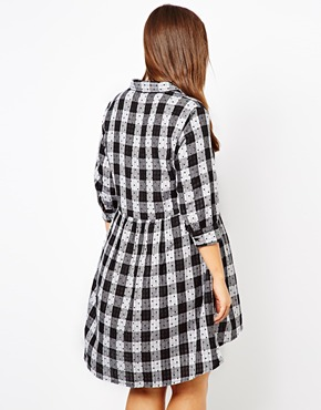 ASOS Curve | ASOS CURVE Exclusive Smock Dress In Spot Check at ASOS