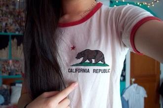 t-shirt white bear red collar white t-shirt california california republic shirt