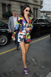 jacket,blazer,colorful,kendall jenner,kardashians,model off-duty,mules,sandal heels,celebrity