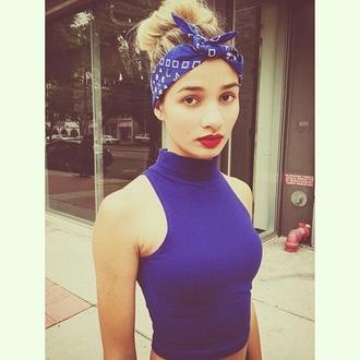 top blue sleeveless crop tops turtleneck hair accessory