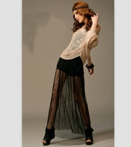 Buy Charming Transparent Double Layered Full Length Long Skirt Black with cheapest price|Clothing-Dropship.com