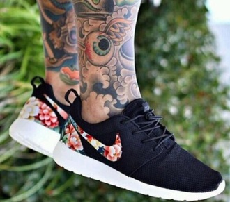 shoes nike running shoes nike roshe run running shoes floral shoes black shoes