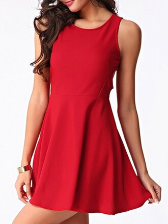 dress gamiss red red dress mini dress fashion trendy style cute girly skater dress