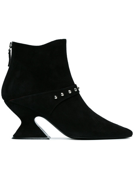 Dorateymur studded women leather suede black shoes